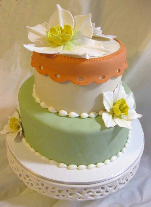 Baby Shower Cake with lovely narcissus flowers, by Amanda Oakleaf ...