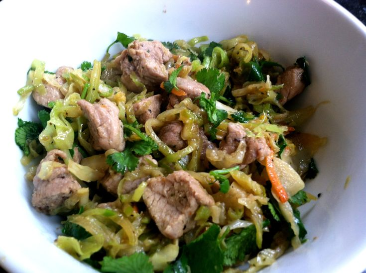 Pork, Cabbage, and Broccoli Slaw Stir Fry