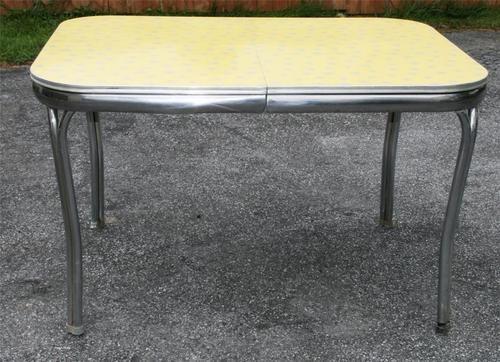 Vtg 50s Formica Table Mid Century Modern Atomic Dinette Chrome Kitche
