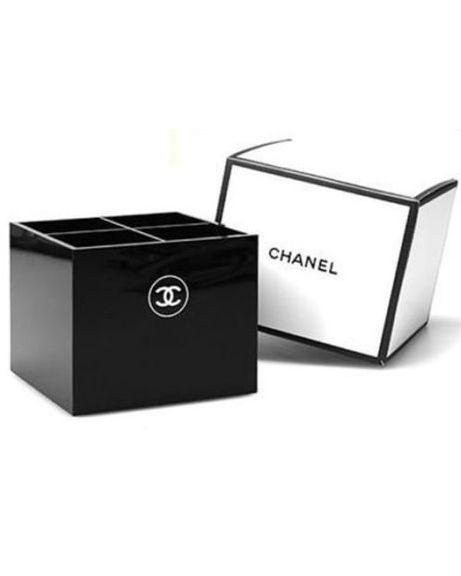 CHANEL Black Acrylic VIP Gift Vanity Box / Brush Holder Makeup Organi ...