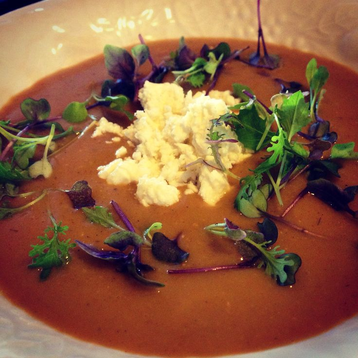 Red lentil soup with feta, micro greens and micro purple basil