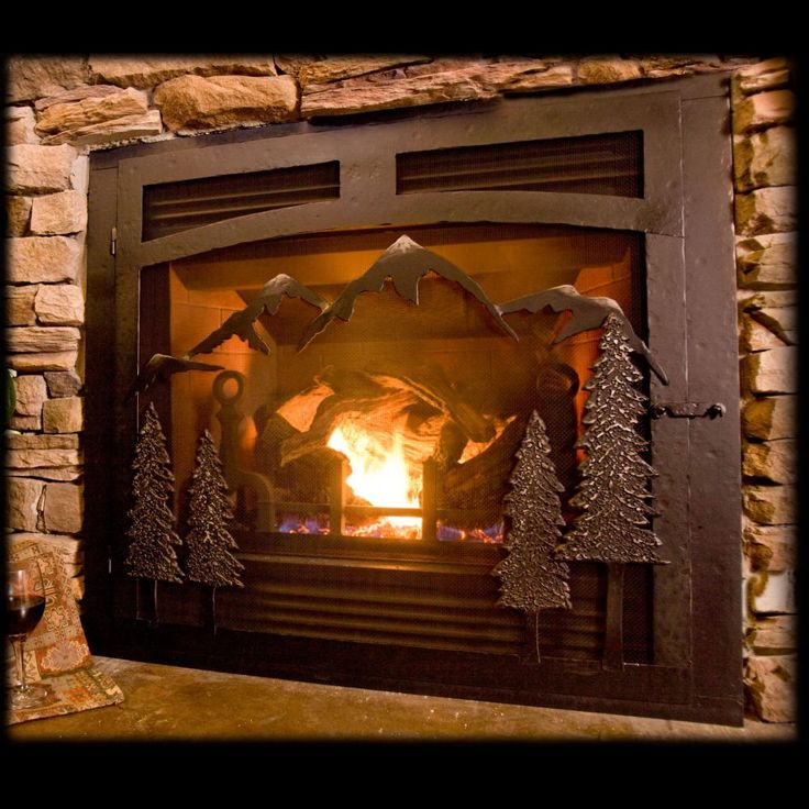 Selway Mountain Gas Fireplace Iron Doors Dream Home