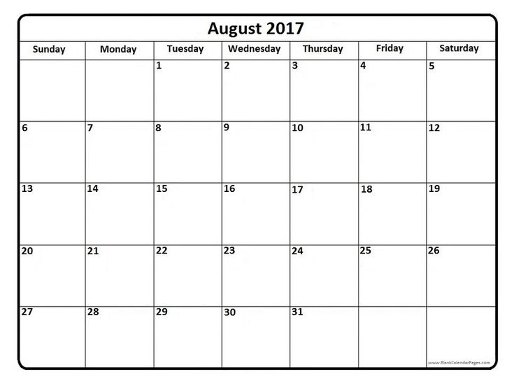 Blank Calendar Template August 2017 – Printable Editable Blank