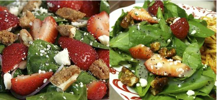 Spinach Salad With Strawberries, Candied Pecans, Feta, And Pomegranate ...