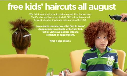 JC Penney: Free Haircuts for Children