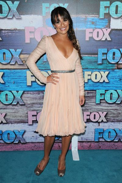 Lea Michele wears plunging peach dress to Fox All-Star Party
