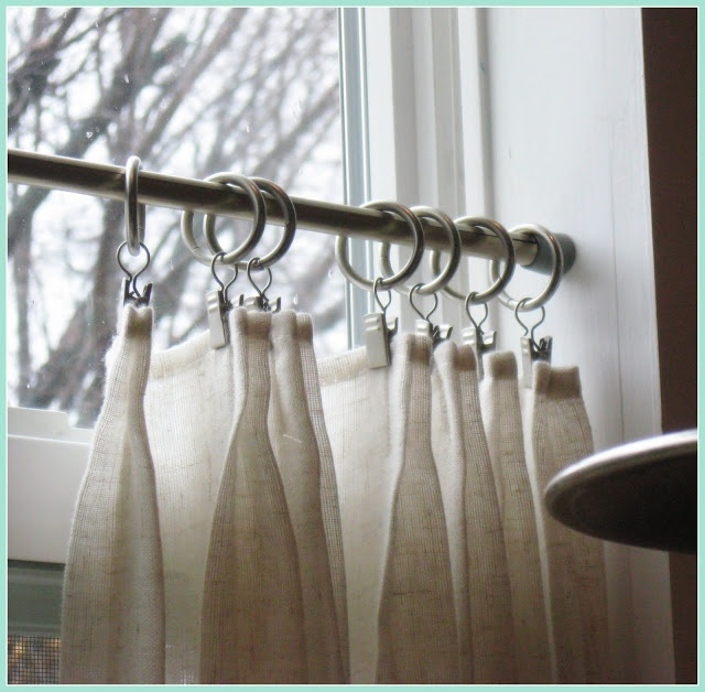 french pleat café curtains in the kitchen