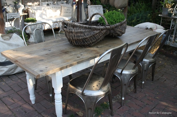 farmhouse table on patio outdoor spaces