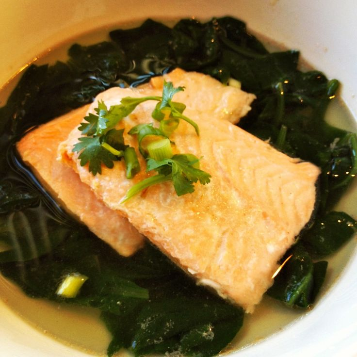 Simple Poached Salmon in Spinach Soup | Healthy Recipes // Meals | Pi ...