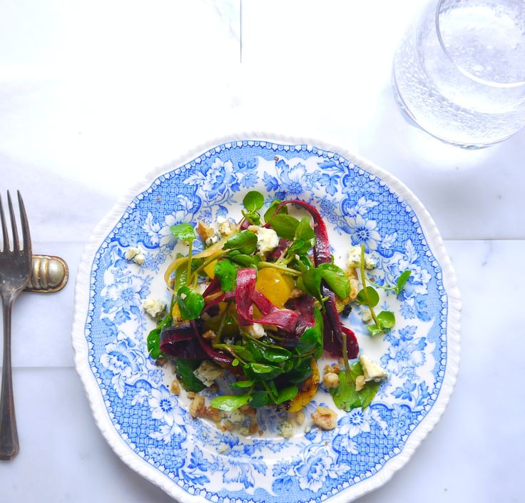 Chargrilled Polenta with Blue Cheese, Watercress and Walnut Salad