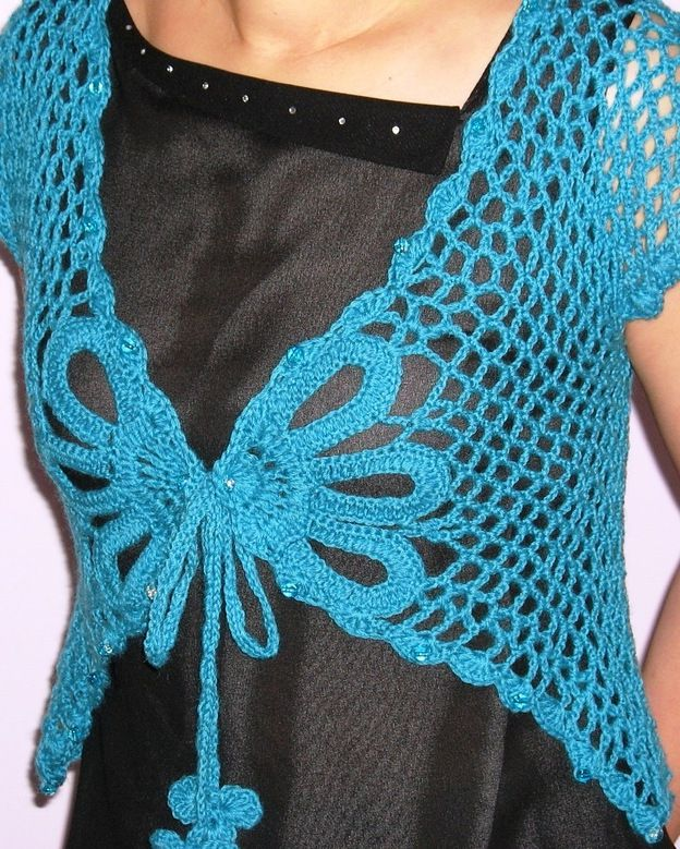 Free Crochet Pattern For Butterfly Shawl : Butterfly Shrug Pattern Plus Size Crochet-Scarf, Shrugs ...