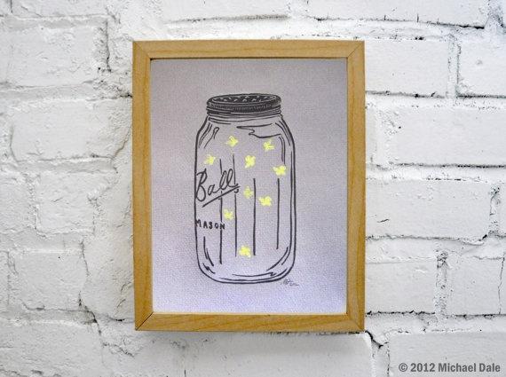 Mason Jar Firefly Lightning Bug Linocut Relief Print - Summer Home and ...