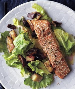 The salmon, eggplant, and escarole all roast in the oven, which means ...