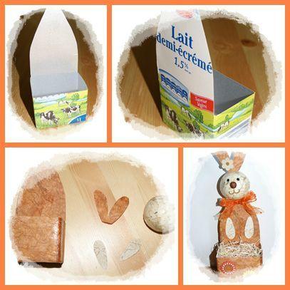 lapin avec tetrapack  Pâques + 1er Avril  Pinterest