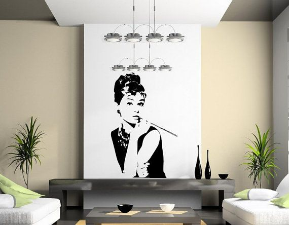 Audrey Hepburn Silhouettes Large Vinyl Wall Decoration LARGE 60cm x 95cm. SKU:111110 on Etsy, $31.54
