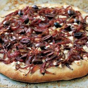 Pizza with Caramelized Red Onions, Olives and Feta Cheese | Williams ...