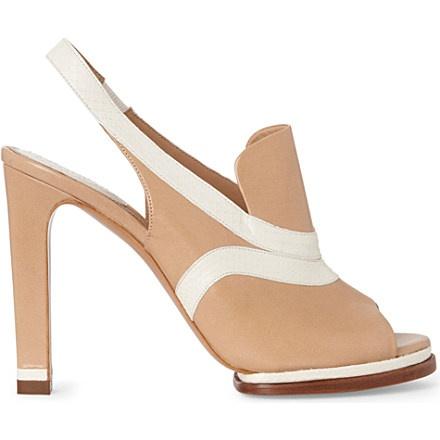CHLOE Soliz leather and snakeskin slingback sandals (Beige comb