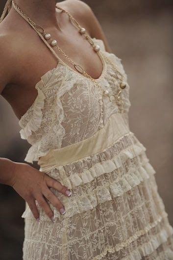 Wonderful lace dress summer amazing gorgeous Style outfit clothing women apparel fashion cream