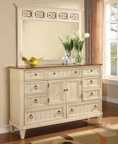 French Cottage White King Size Bed Bedroom Furniture