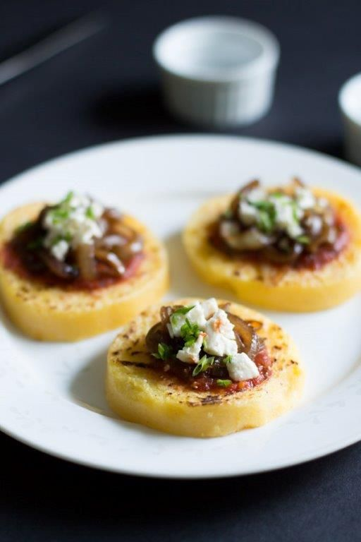 Grilled Polenta with Tomato Sauce, Balsamic Onions and Feta ...