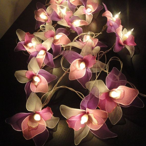 Purple Flower String Lights : 20 Pink-White-Purple Orchid Flower Fairy String Lights Hanging Wedding Gift Party Patio Wall ...