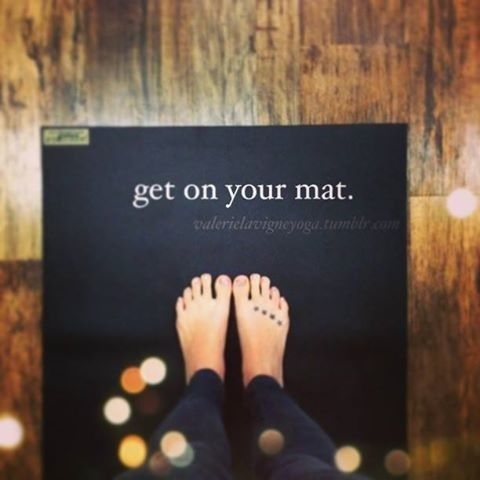 "Power Off. Shut Down. Do Yoga. I kinda want that as a tatto ""Get on your mat."" YEAH!!!! #yoga #inspiration #yogamat"