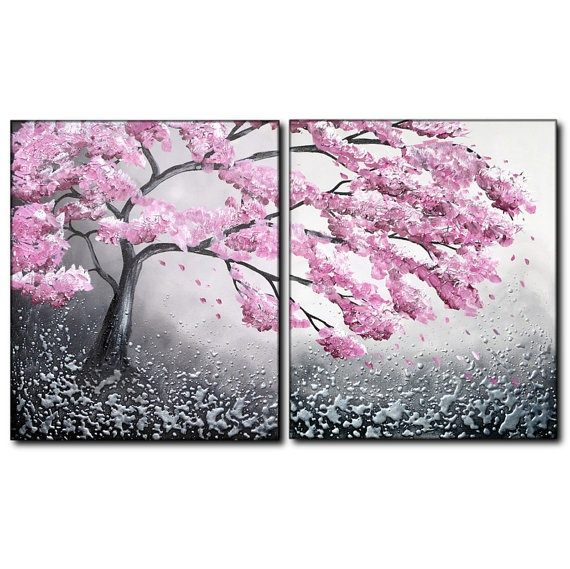 Dagg original spring pink cherry blossom tree painting for Canvas painting of cherry blossoms
