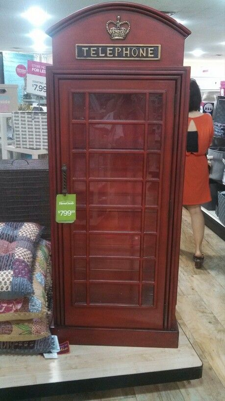 british telephone booth curio cabinet at homegoods   799 00