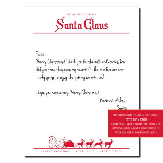 Santa Letterhead & by InstaGraphic | PRINTABLE | Christmas | Pinterest