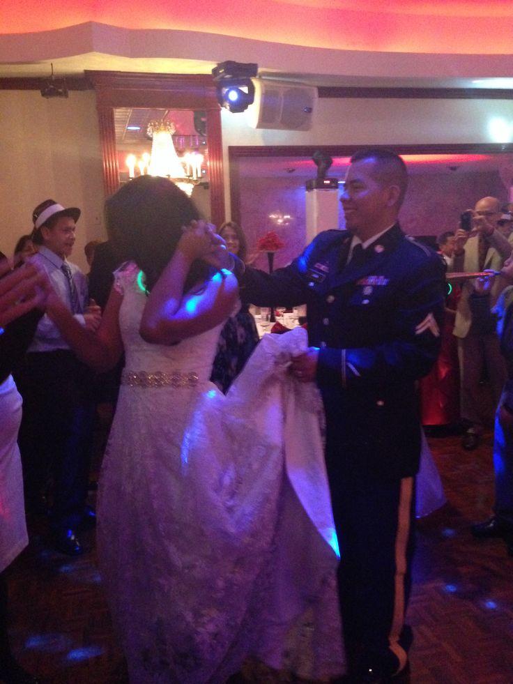 Army blues lace wedding dress