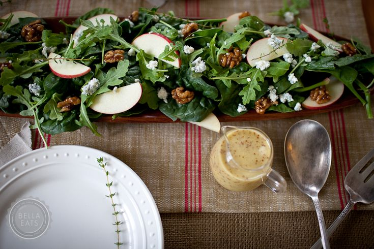 salad with apples, blue cheese, + candiedwalnuts