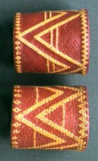 Nagaland ~ Northeast India | A pair of wrist ornaments of dyed split cane and dendrobium. Worn by the Changs, made by Kalyo-Kengyu | ca. 1869 - 1875