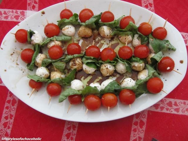 Tomato basil mozzarella skewers | Good Food | Pinterest