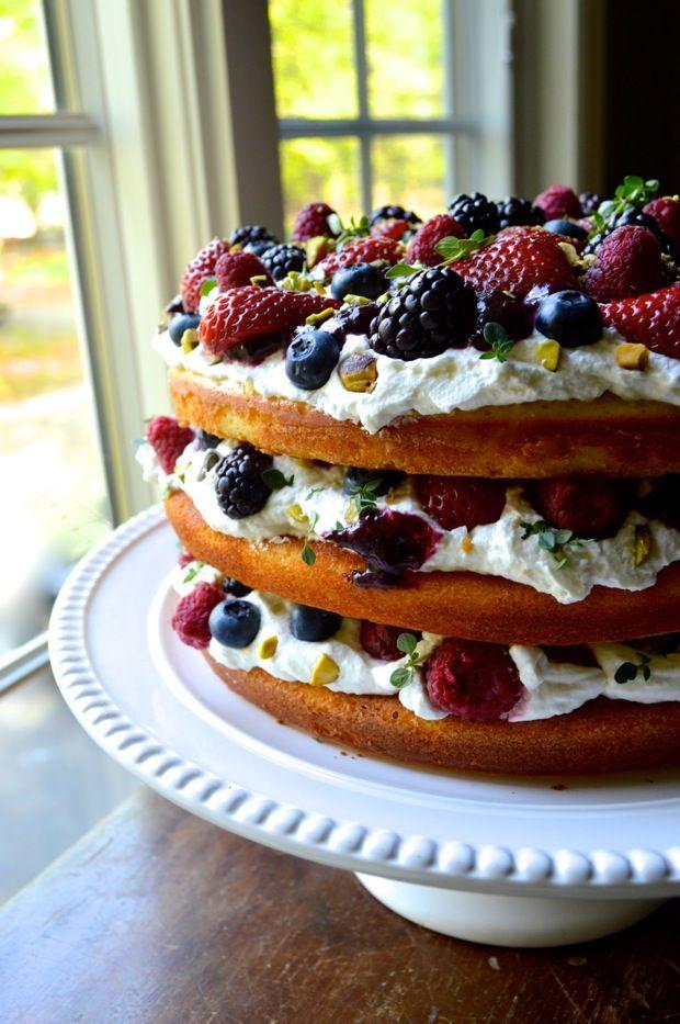TRIPLE LAYER BERRY CAKE W/ LEMON CREAM AND THYME - The Woks of Life