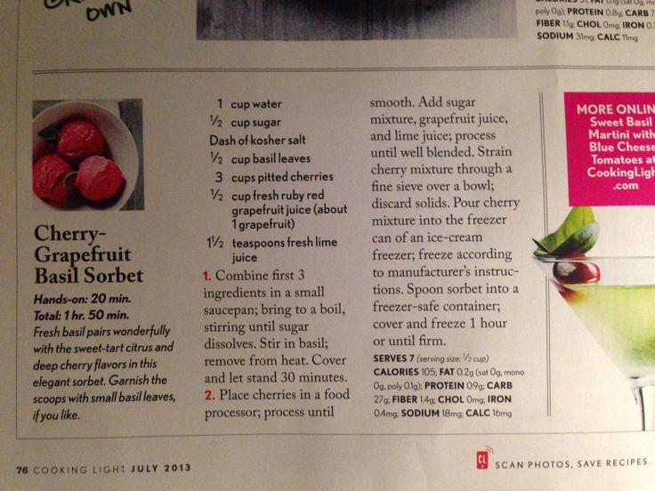 Cherry grapefruit basil sorbet | Sweet Treats | Pinterest
