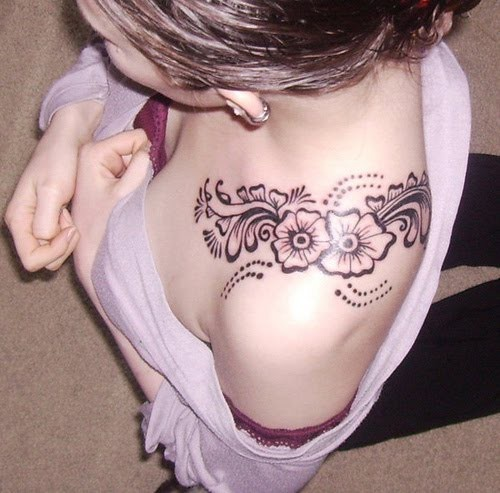 Floral Shoulder Tattoo  Henna Designs  Pinterest