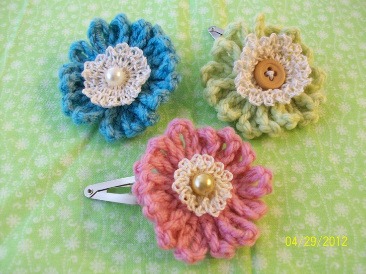 Crochet Hair Flowers : crochet flowers