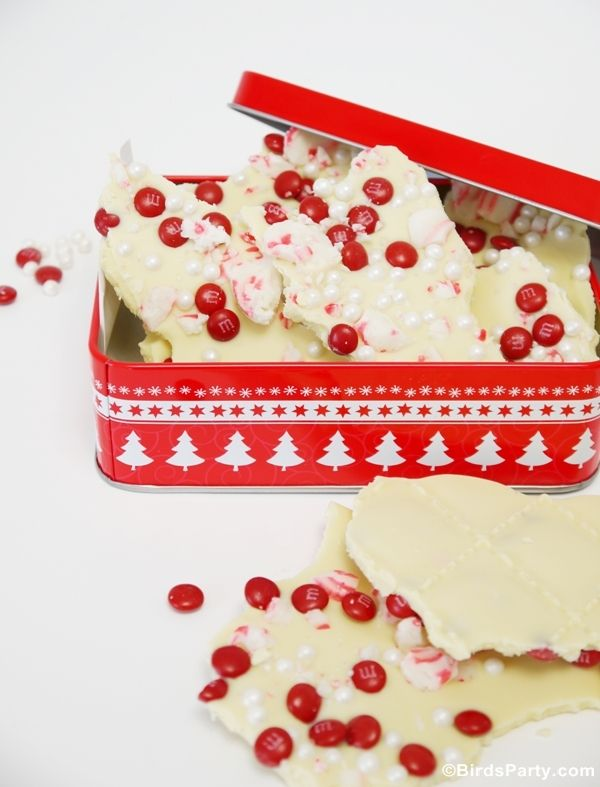 Last Minute Homemade Gift Idea: White Chocolate and Peppermint Bark by Bird's Party