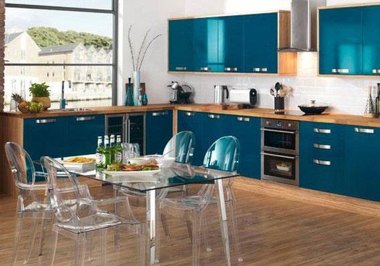 Modular Kitchen Design Ideas with Teal Cabinets & Accents