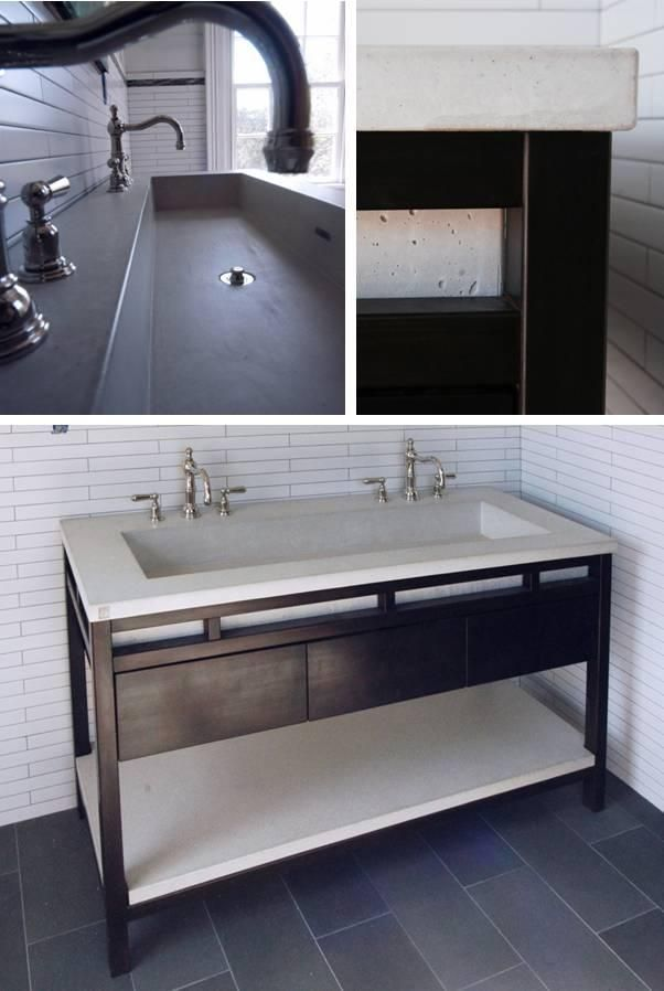 Double Trough Sinks For Bathrooms : Betonas Double Trough Sink & Base - Bathroom Sinks - Modenus Catalog