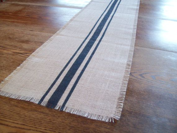 Burlap Table Runner 10 X 48 With Navy Blue Grain Sack Stripes   Other  Colors Available