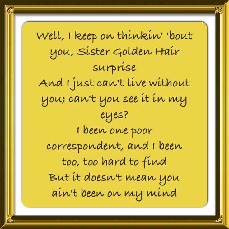 lyric interpretation sister golden hair america