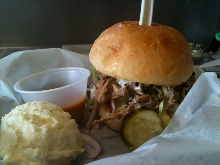 Southern Style Pulled Pork sandwiches with a side of homemade Potato ...