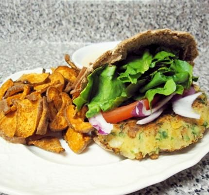 Chickpea Veggie Burger & Sweet Potato Fries with Tahini Sauce...Stay ...
