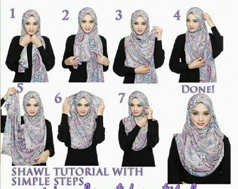 Shawl tutorial with simple steps | Hijab | Pinterest