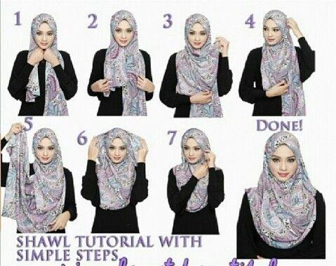 Shawl tutorial with simple steps   Hijab   Pinterest