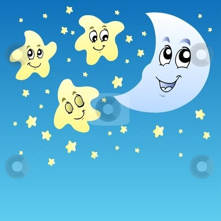 Sky Clip Art | Night sky with cute stars and Moon stock vector clipart ...
