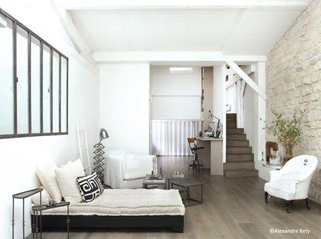 model ede salon moderne blanc tons noirs et gris rehausss par du blanc pour un style industriel - Model Ede Salon Moderne Blanc