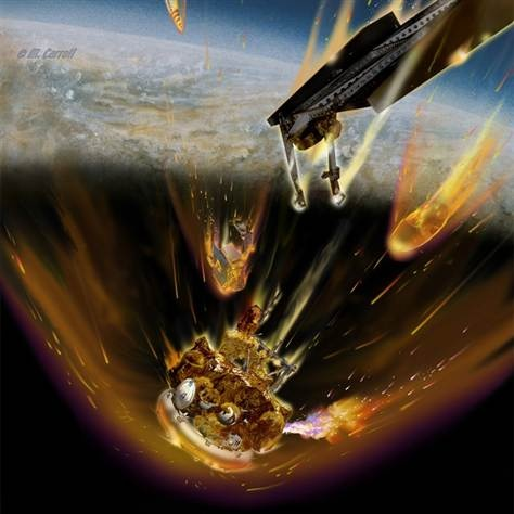 Atmospheric breakup of the Phobus-Grunt probe as it crashes to Earth.