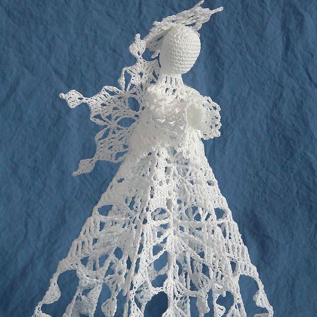 Free Crochet Patterns Christmas Tree Topper : Snowflake Angel Tree Topper pattern by Kathryn A. Clark